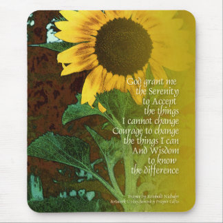 Serenity Prayer July Sunflower Mouse Pad