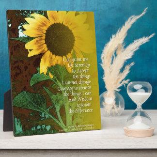 Serenity Prayer July Sunflower Plaque