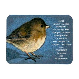 Serenity Prayer: Junco. Color Pencil Art Magnet