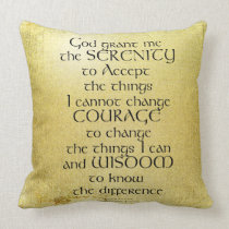 Serenity Prayer Kelt on Yellow Throw Pillow