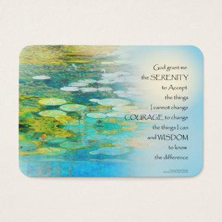 Serenity Prayer Koi Pond Blue Green Business Card