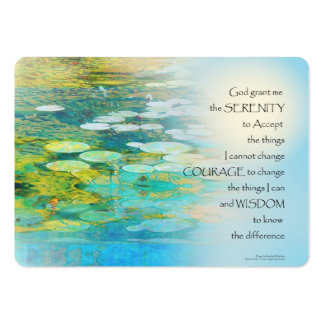 Serenity Prayer Koi Pond Blue Green Large Business Card