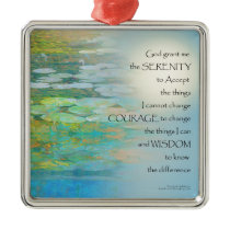 Serenity Prayer Koi Pond Blue Green Metal Ornament