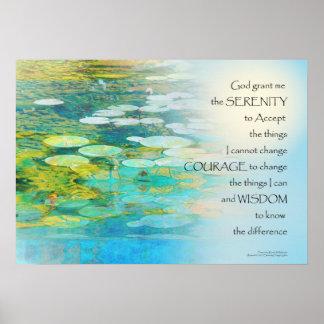 Serenity Prayer Koi Pond Blue Green Poster