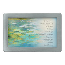 Serenity Prayer Koi Pond Blue Green Rectangular Belt Buckle