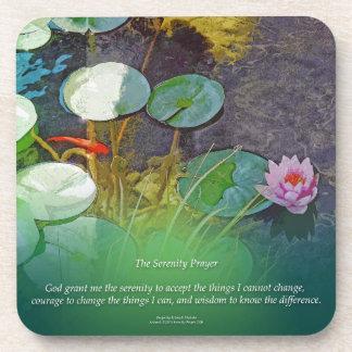 Serenity Prayer Koi Pond Lotus Beverage Coaster