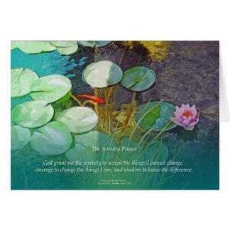Serenity Prayer Koi Pond Lotus Card