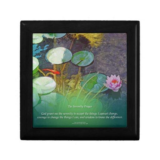 Serenity prayer koi pond lotus keepsake box zazzle for Koi pond gift ideas