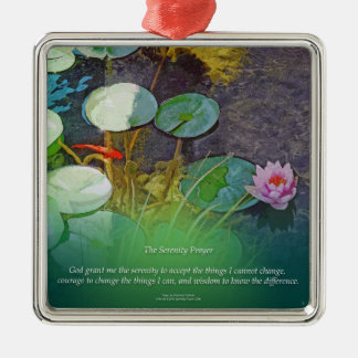 Serenity Prayer Koi Pond Lotus Metal Ornament