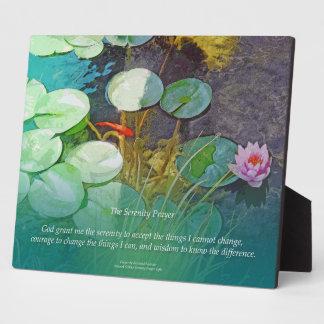 Serenity Prayer Koi Pond Lotus Plaque