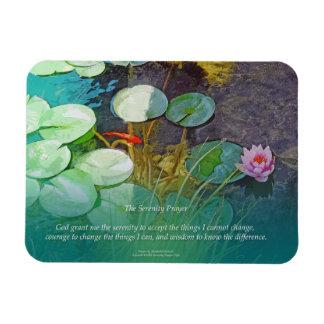 Serenity Prayer Koi Pond Lotus Rectangular Photo Magnet
