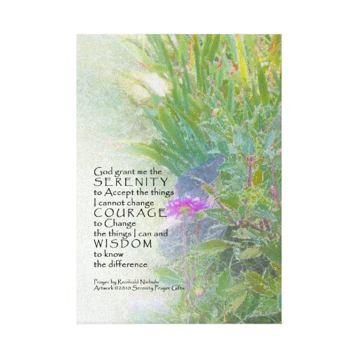 Serenity Prayer Late Summer Garden Wrapped Canvas Stretched Canvas Print
