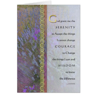 Serenity Prayer Lavender and Sweet Peas Card