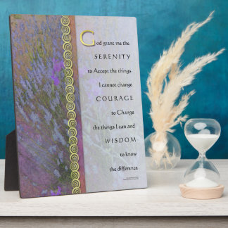 Serenity Prayer Lavender and Sweet Peas Plaque