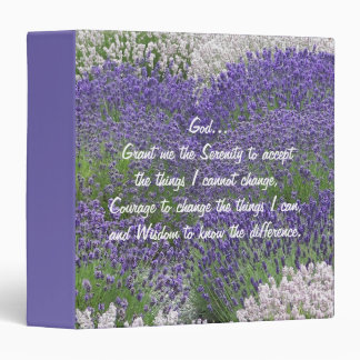 Serenity Prayer Lavender Garden Floral Binder