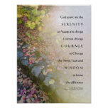 Serenity Prayer Leaves and Stone Wall Poster