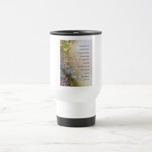 Serenity Prayer Leaves and Stone Wall Travel Mug