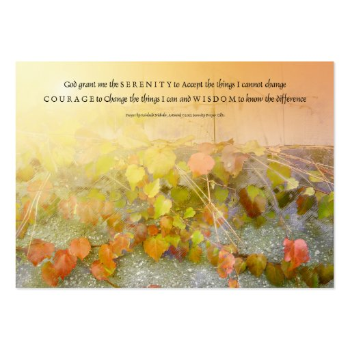 Serenity Prayer Leaves and Wall Business Cards