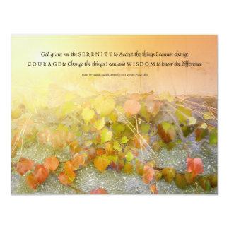 "Serenity Prayer Leaves and Wall Invitation 4.25"" X 5.5"" Invitation Card"