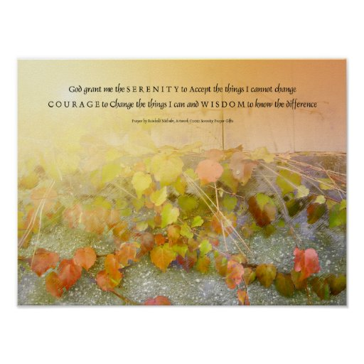 Serenity Prayer Leaves and Wall Poster