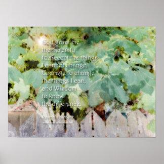 Serenity Prayer Leaves & Fence Poster