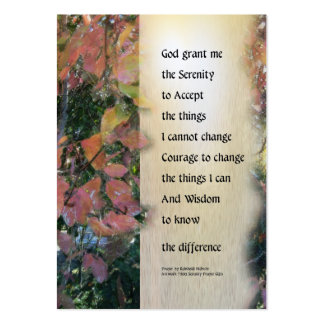 Serenity Prayer Leaves Panel Large Business Cards (Pack Of 100)