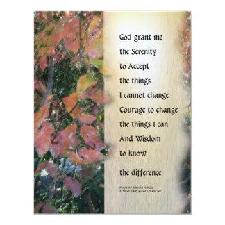 Serenity Prayer Leaves Panel 4.25x5.5 Paper Invitation Card