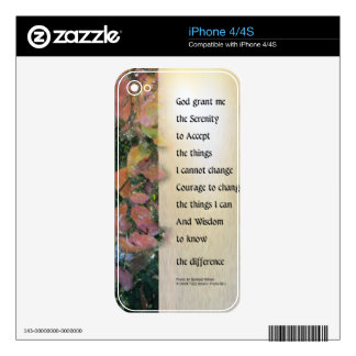 Serenity Prayer Leaves Panel iPhone 4S Decals