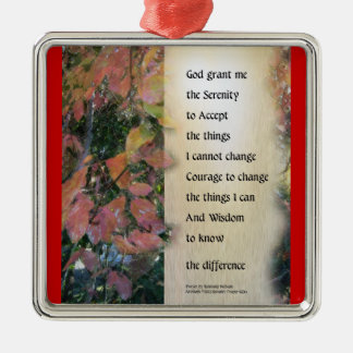 Serenity Prayer Leaves Panel Metal Ornament