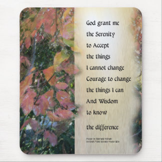 Serenity Prayer Leaves Panel Mouse Pad