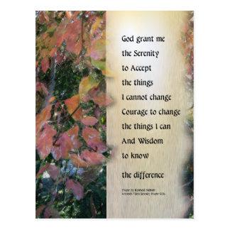 Serenity Prayer Leaves Panel Postcard