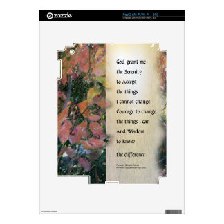 Serenity Prayer Leaves Panel Decal For The iPad 2