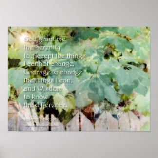 Serenity Prayer Leaves Poster