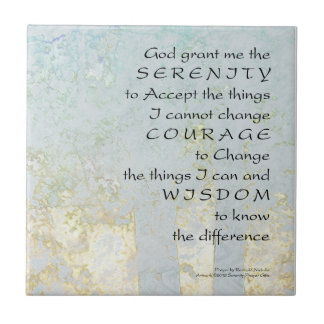 Serenity Prayer Light Blue Tree Ceramic Tile