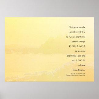 Serenity Prayer Light Yellow Gold Shore Print