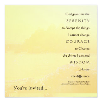 Serenity Prayer Light Yellow Shore Invitation