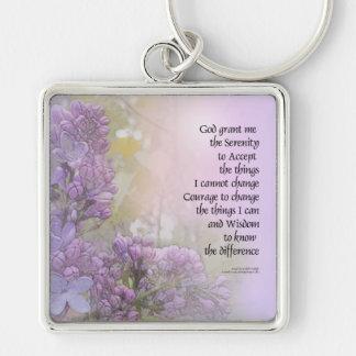 Serenity Prayer Lilac Keychain