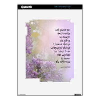 Serenity Prayer Lilac Decals For The iPad 2