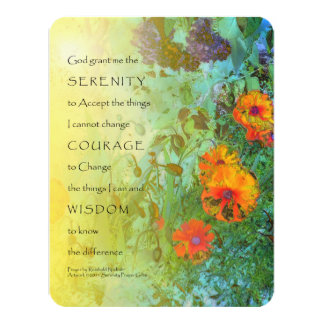 Serenity Prayer Lilacs and Poppies 4.25x5.5 Paper Invitation Card