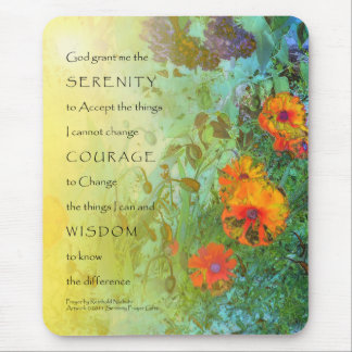 Serenity Prayer Lilacs and Poppies Mouse Pad