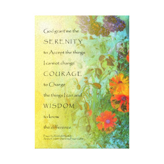Serenity Prayer Lilacs and Poppies Wrapped Canvas