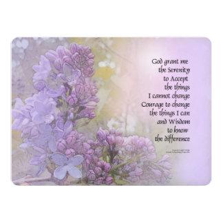Serenity Prayer Lilacs 6.5x8.75 Paper Invitation Card