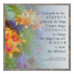 Serenity Prayer Lilies Poster