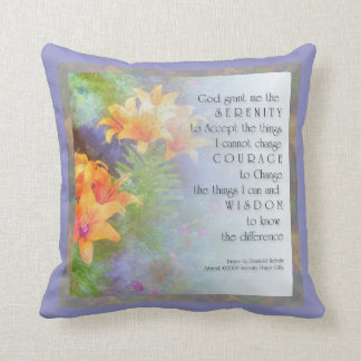 Serenity Prayer Lilies Throw Pillows