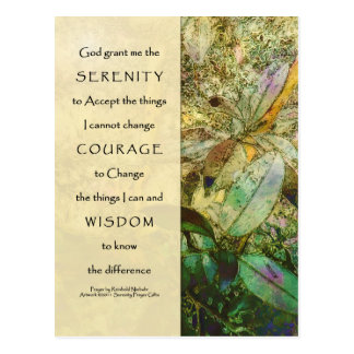 Serenity Prayer Madrone Leaves Postcard