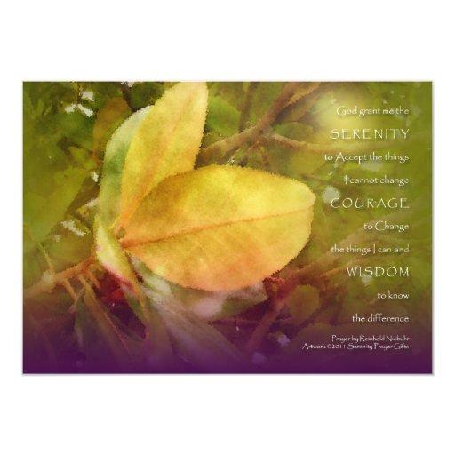 Serenity Prayer Magnolia Leaves Invitation