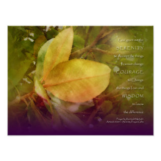Serenity Prayer Magnolia Leaves Print