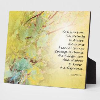 Serenity Prayer Manzanita Golden Plaque