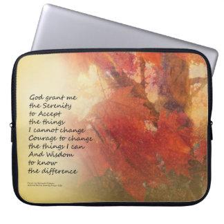 Serenity Prayer Maple Leaves Orange Laptop Sleeve