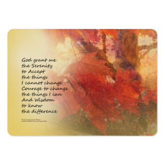 Serenity Prayer Maple Leaves Orange Large Business Card